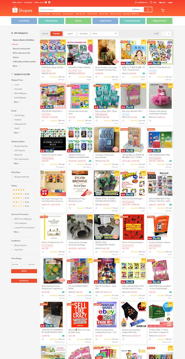 4 reasons to start your online store - Shopee Book Listings
